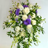 trailing flower bouquets, purple-wedding flowers