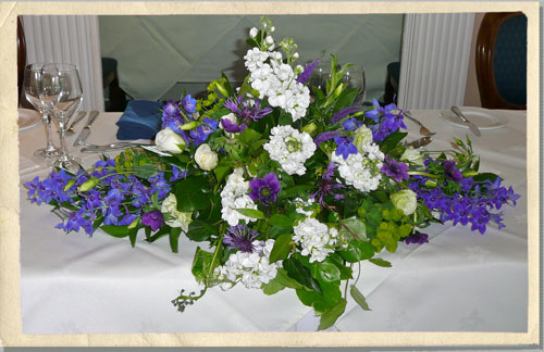blue wedding flowers, wedding flower table arangements