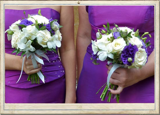 trailing wedding flowers Bride and Groom