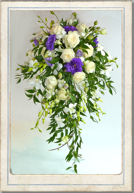 trailing wedding bouquets, shower bouquets, purple wedding flowers