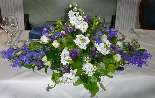 As a contrast to Tina's blue rose bouquet, her bridesmaids carried bouquets of cream 'avalanche' roses mixed with purple veronica.
