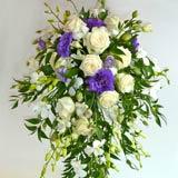trailing flower bouquets, purple-wedding flowers